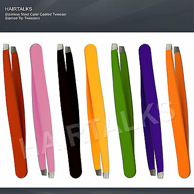 HAIRTALKS Stainless Steel EyeBrow Tweezers Plucker/Puller Slanted Tip Color New