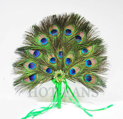 Peacock Feather Fan Bridesmaid wedding party Custom Created for you