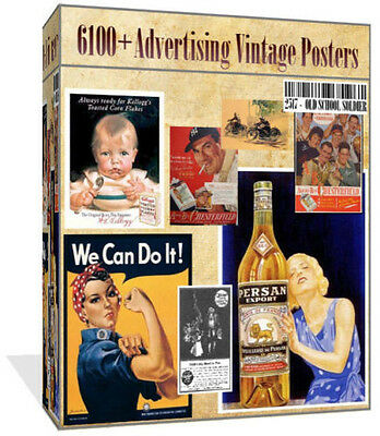 Over 6100 Old Advertising Images Vintage Posters Art Cardmaking Decoupage PC DVD
