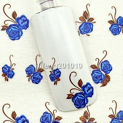 water transfer nail art stickers decals decoration tool Blue Rose Flower Design