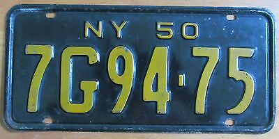 New York 1950 SINGLE PLATE YEAR License Plate # 7G94-75