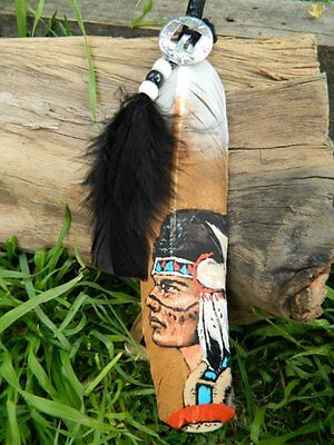 OOAK Hand Painted Smudge Feather - Buffalo Warrior
