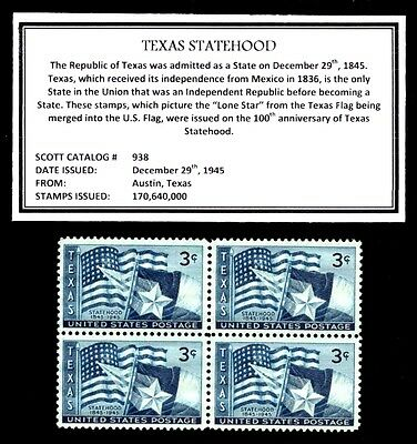 1945 - TEXAS - Mint, Never Hinged, Block of Four Vintage U.S. Postage Stamps