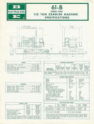 Bucyrus Erie 61-B Series Two 110 Ton Crawler Machine specifications