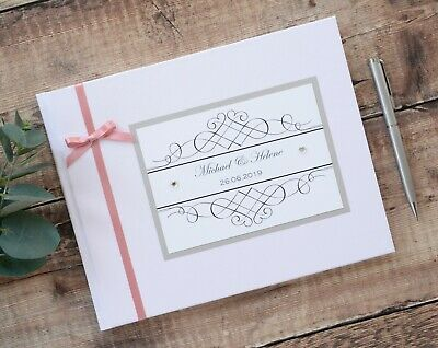 White or Ivory Personalised Wedding Guest Book - Diamante Heart Detail