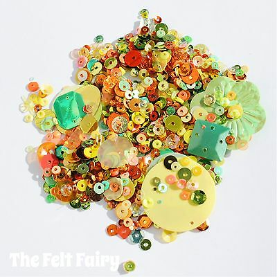 Mixed Sequins 100+ Loose Sparkling Citrus Mix - Yellow Green Orange