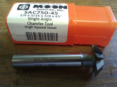 """3/4"""" 45 Degree High Speed Steel Single Angle Chamfer Cutter"""