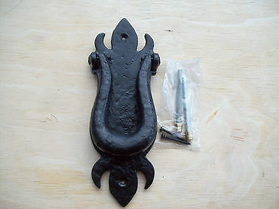 20.3cm HEAVY DUTY BLACK ANTIQUE WROUGHT IRON OLD ENGLISH VICTORIAN DOOR KNOCKER