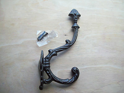 "8"" Large Heavy Duty Old English Victorian Style Cast Iron Hat and/& Coat Hooks"