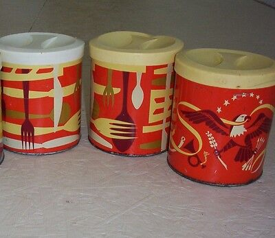 Lot-3 Vintage Shortening Tin Canister Procter & Gamble Red Metal Can