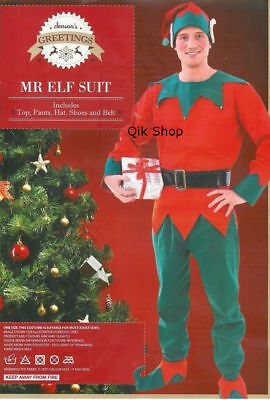 Mens Adult Mr Elf Suit Robe Xmas Costume Fancy Dress New Christmas Out Fit