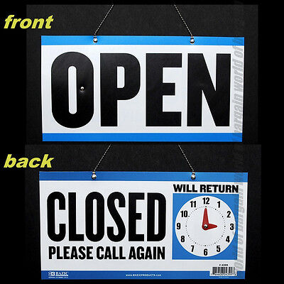 "OPEN CLOSED SIGN 11.5"" x 6"" Double Sided Hanging Signage WILL RETURN Clock C019"