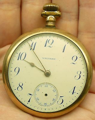 Antique 1908 Waltham Gold Plate Pocket Watch 7 Jewels 16 Size