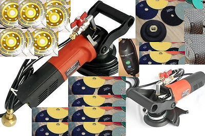 """5"""" Variable Speed Concrete Cement Wet Polisher Diamond 16+1 Pad 9 Cup Wheel"""