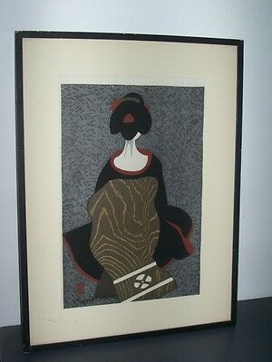 Asian lithography. Signed