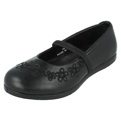 4aa4acab4a3ba Girls H2122 black synthetic slip-on School shoe flower by spot on £5.99