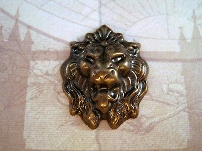 Large Antiqued Brass Lion Head (1) - ANTRAT107  Jewelry Finding