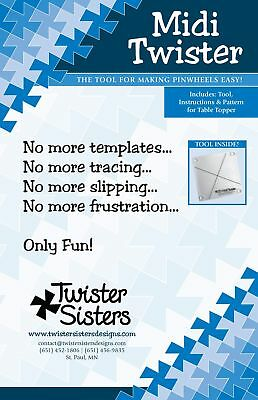 """""""Midi"""" Twister, Quilt Tool for Making Pinwheels Easy! Twister Sisters Designs"""