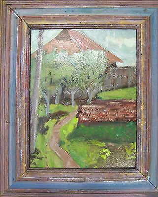 ORIGINAL 20th CENTURY IMPRESSIONISTIC RUSSIAN ARTIST DACHA OIL PAINTING