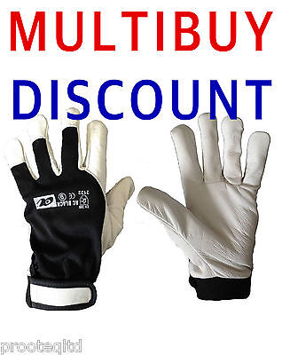 Goat Leather Work Gloves Velcro Cuff Comfort Fit Stretch Cotton Back Drivers