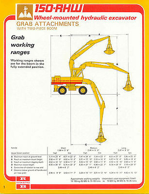 150-RHW wheel mounted hydraulic excavator grab attachments with two-piece boom s