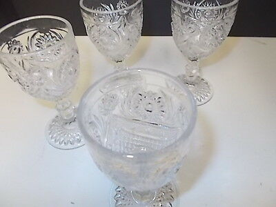 BEAUTIFUL CLEAR GLASS HOBSTAR STEMMED PRESSED GLASS WINE GLASSES