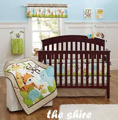 Baby Bedding Crib Cot Quilt Set- NEW 10cs Quilt Bumper Sheet Dust Ruffle Blanket