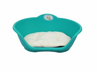 MEDIUM PLASTIC Teal Aqua Green WITH Cream CUSHION PET BED DOG CAT SLEEP BASKET