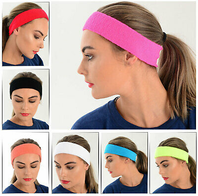 Headband Sweatband One Size Elastic Sport Fancy Dress Many Colours