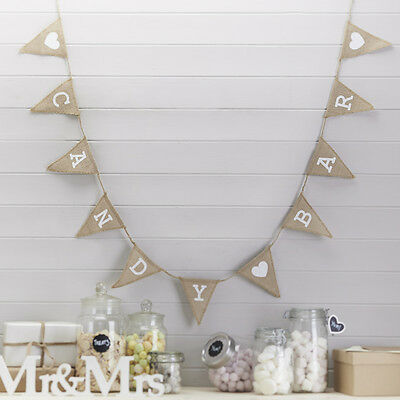Candy Bar Bunting Vintage Style Rustic Hessian Bunting, Wedding Decoration