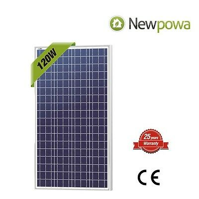 NewPowa High efficiency 120W 12V Polycrystalline Solar Panel Module RV Marine