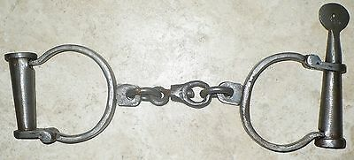 Antique Cast Iron Handcuffs Hand Cuffs With Key Marked, But Letters Missing