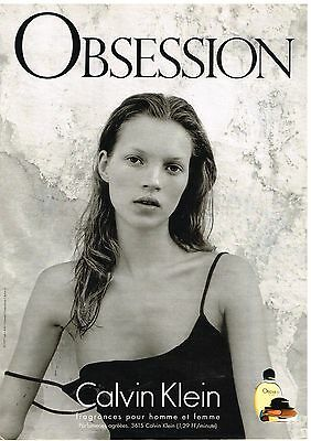 "Publicité Advertising 1999 Parfum ""Obsession"" Calvin Klein avec Kate Moss"