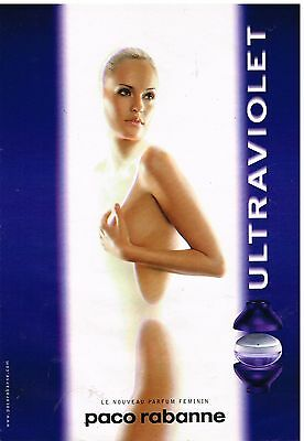 "Publicité Advertising 1999 Parfum ""Ultraviolet"" Paco rabanne"