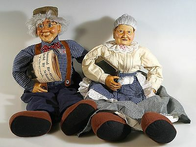 Grandmother And Grandfather Hand Painted Porcelain Dolls, Soft Feet, Large