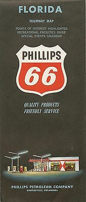 1962 PHILLIPS 66 Road Map FLORIDA Miami Jacksonville Tampa West Palm Beach