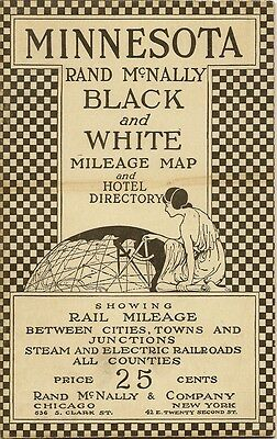 1921 Traveling Salesman Electric Railroad Mileage Map MINNESOTA Hotel Directory
