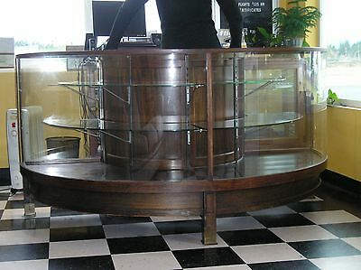 Vintage Rare Hardwood & Curved Glass Store Front Display Cabinet/Countertop