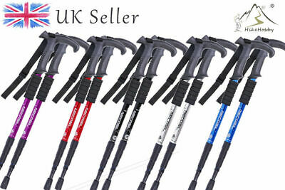 2 x Telescopic anti-shock 4-Section Trekking Walking Hiking Pair Stick Poles