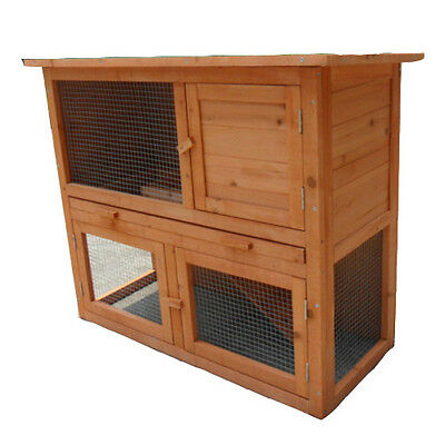 Rabbit Hutch 2 Storey 94*45*79cm Guinea Pig Cage Ferret House Chicken Coop P002