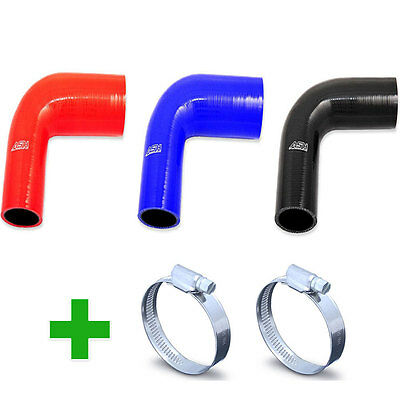 Silicone Hose 90 Degree Elbow Reducer + Hose Clips - Silicon Rubber Joiner Bend