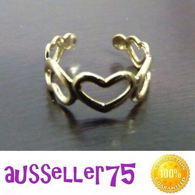 Brand New Gold Toe Ring Hearts Adjustable
