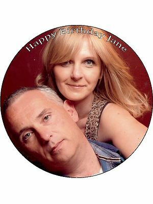 "YOUR OWN PERSONALISED PHOTO MESSAGE EDIBLE ICING 7.5"" Round CAKE TOPPER"