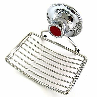 Stainless Wire Soap Dish Tray Vacuum Suction Cup Holder Bathroom Wall Mounted
