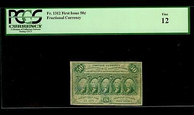 1862 - 1863 Fifty Cents Fractional Currency Note Fr #1312 Pcgs Fine 12