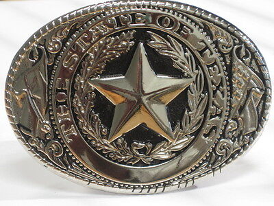 The State Of Texas Vintage Silver And Black Belt Buckle
