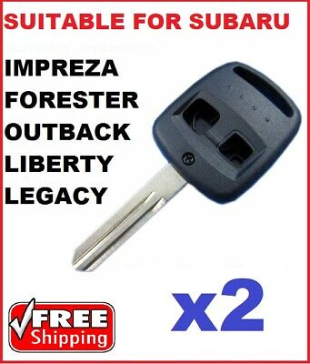 2 x Subaru Remote Key blank  2 Button Shell to Suit Outback Legacy & Forester