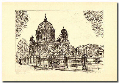 Arno Fleischer - Original Grafik Lithographie BERLINER DOM -06324-