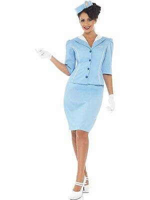 Adult Womens Air Hostess Costume Smiffys Cosplay Ladies Fancy Dress - Large