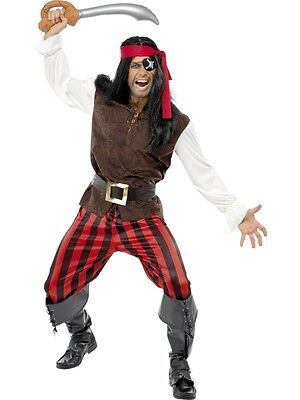 Adult Mens Caribbean Pirate Ship Mate Costume Smiffys Fancy Dress - Large